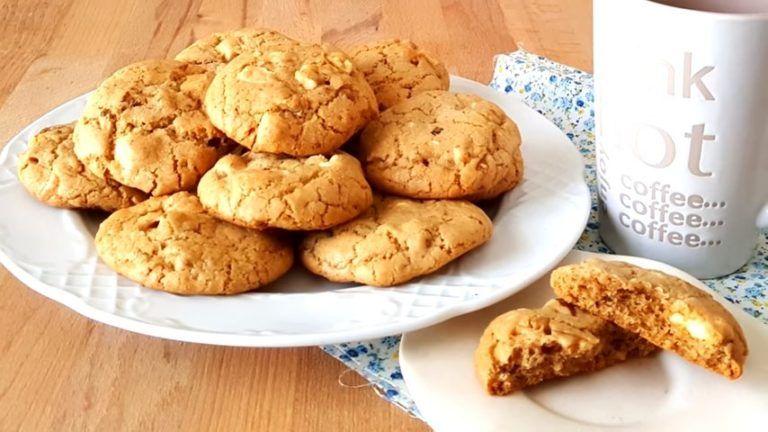 galletas de chocolate blanco y nueces