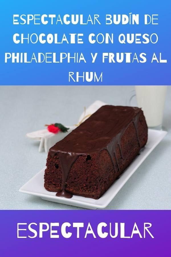 budín de chocolate con queso philadelphia y frutas al rhum