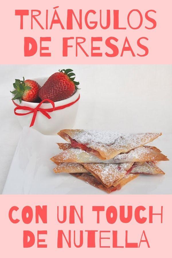 Triangulos de fresas y Nutella