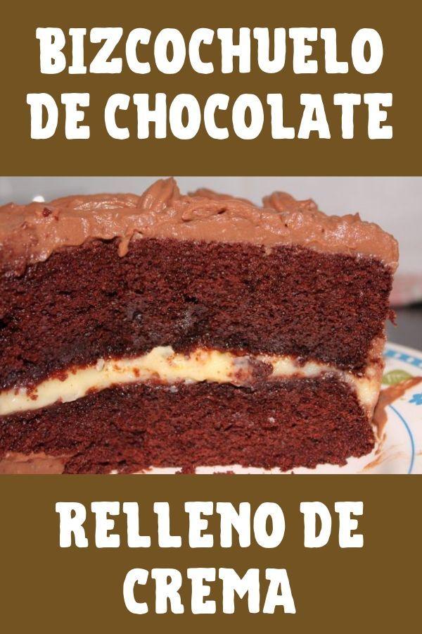 receta de bizcochuelo de chocolate relleno de crema y chocolate