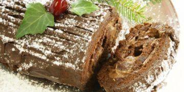 Tronco de Navidad relleno de crema de castañas.