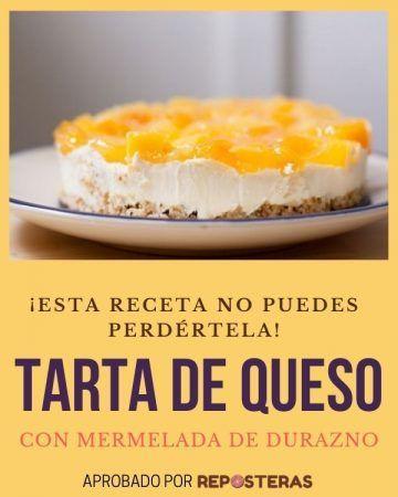 Tarta de queso con mermelada de durazno
